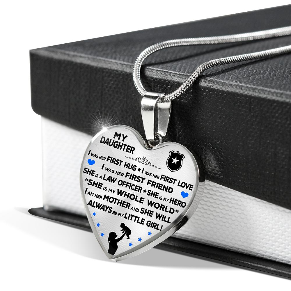 "Police Mom ""I Am Her Mother"" Heart Necklace 