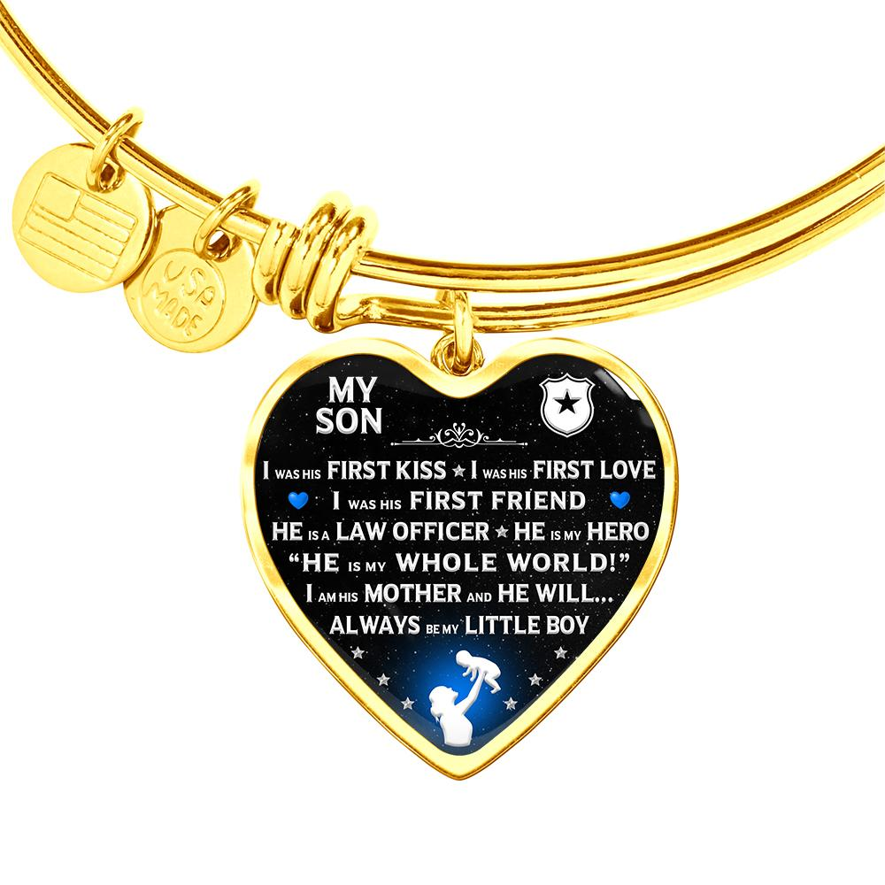 "Police Mom ""I Am His Mother"" Bangle Bracelet 
