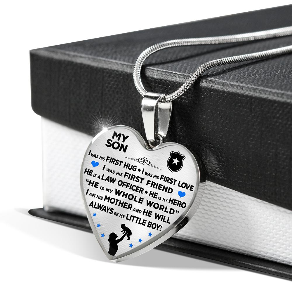 "Police Mom ""I Am His Mother"" Heart Necklace 