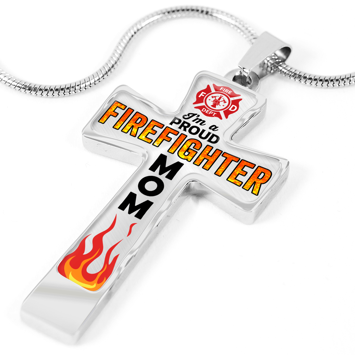 Proud Firefighter Mom Cross Necklace | Heroic Defender