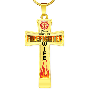 Proud Firefighter Wife Cross Necklace - Heroic Defender