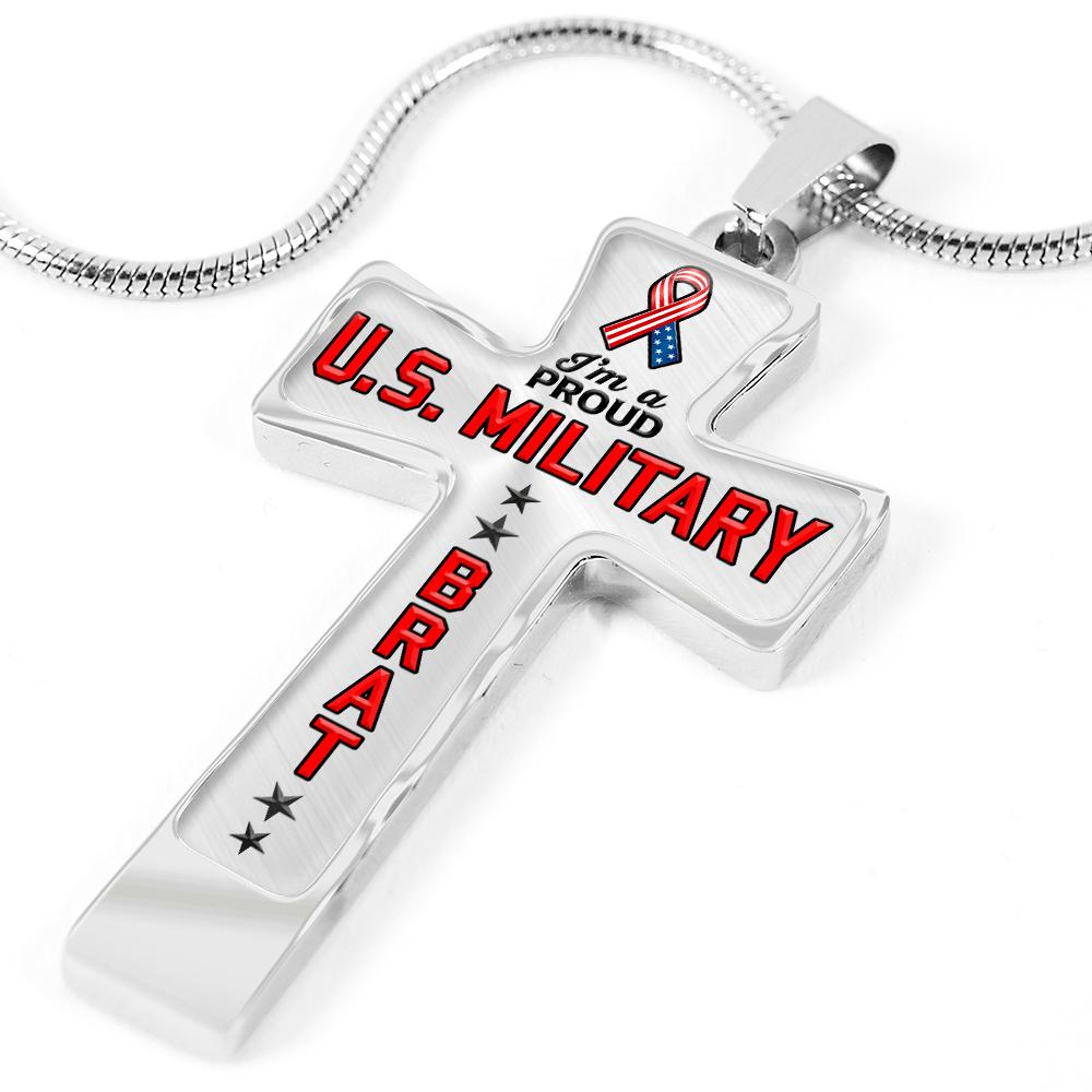 Proud Military Brat Cross Necklace | Heroic Defender