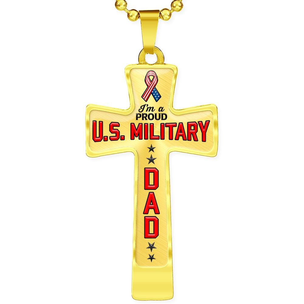 Proud Military Dad Cross Necklace | Heroic Defender