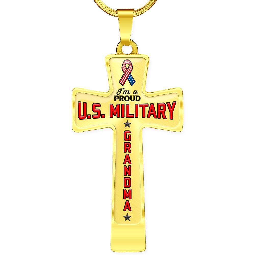 Proud Military Grandma Cross Necklace | Heroic Defender