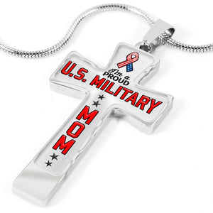 Proud Military Mom Cross Necklace | Heroic Defender