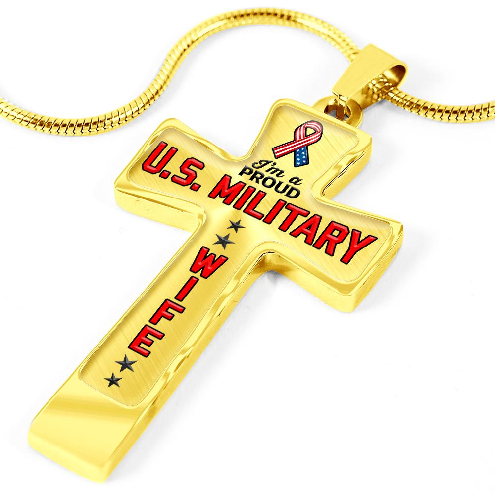 Proud Military Wife Cross Necklace | Heroic Defender