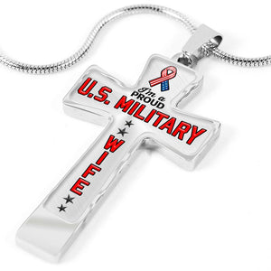 Proud Military Wife Cross Necklace