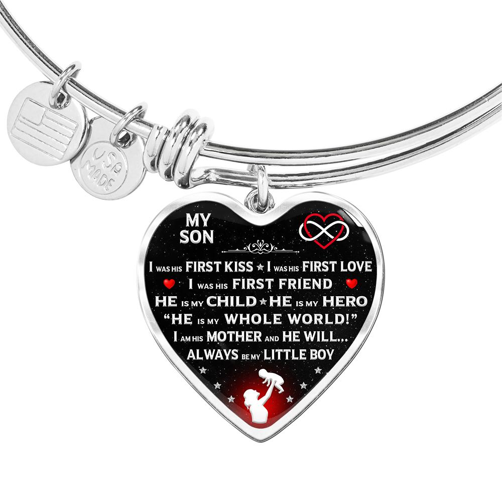 "Proud Mom ""I Am His Mother"" Bangle Bracelet 