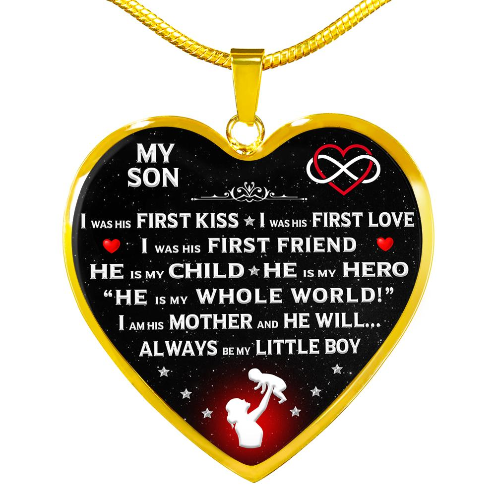 "Proud Mom ""I Am His Mother"" Heart Necklace 