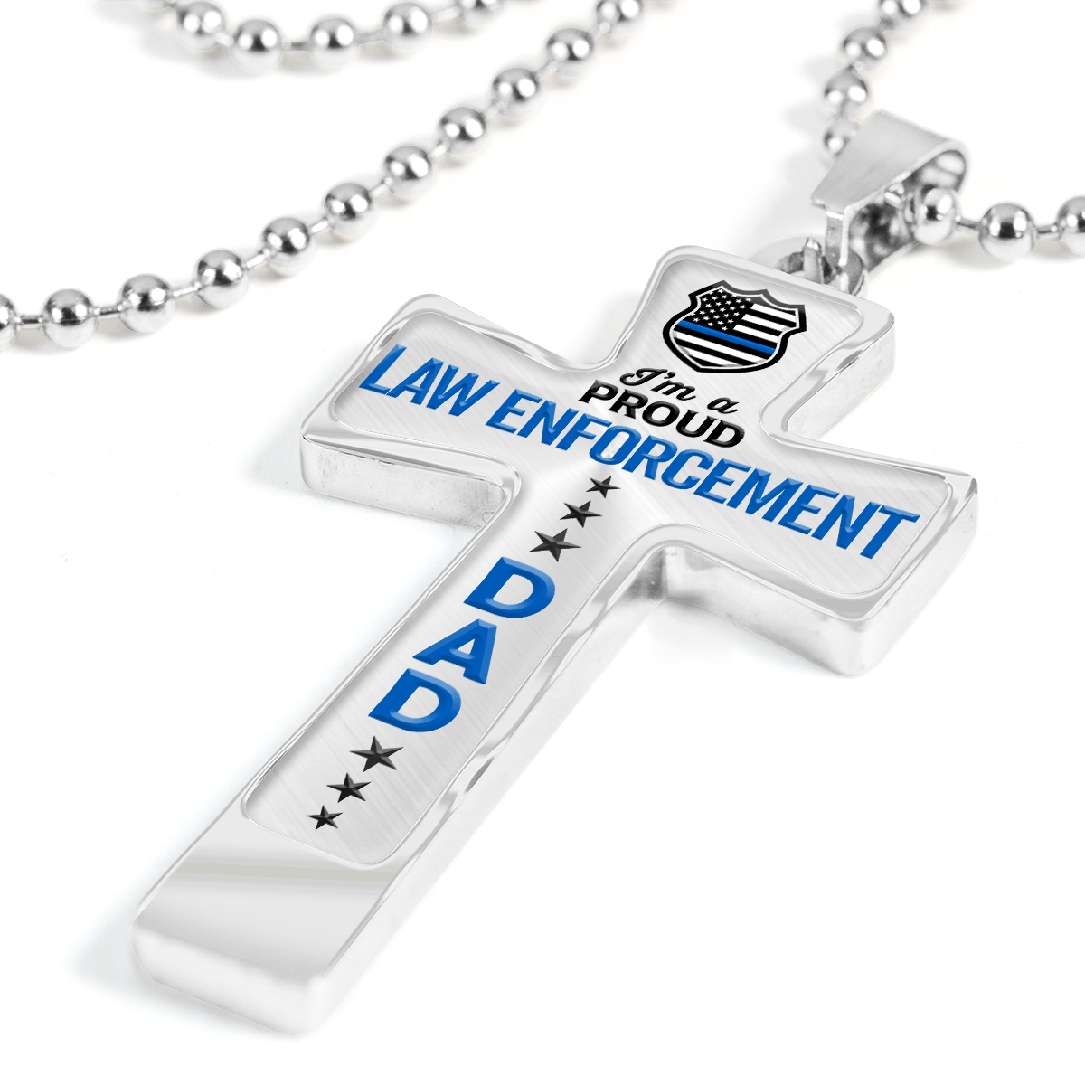 Proud Law Enforcement Dad Cross Necklace | Heroic Defender