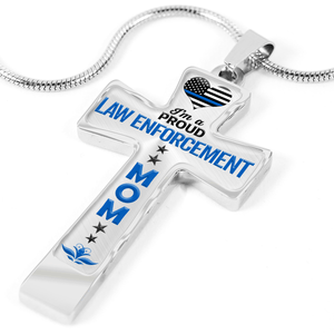 Proud Law Enforcement Mom Cross Necklace | Heroic Defender