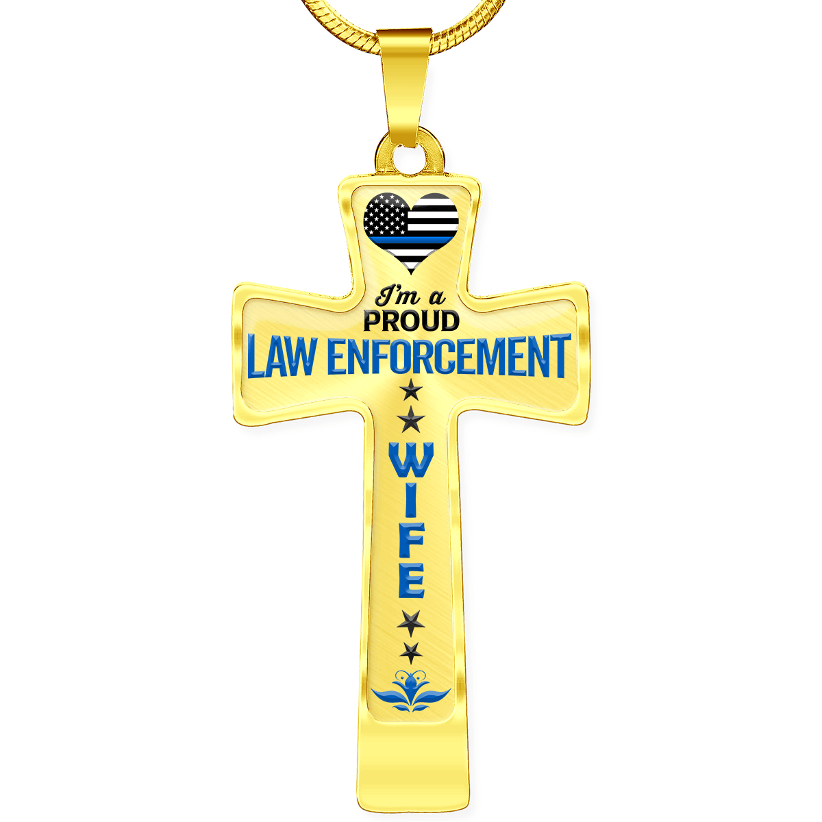Proud Law Enforcement Wife Cross Necklace | Heroic Defender