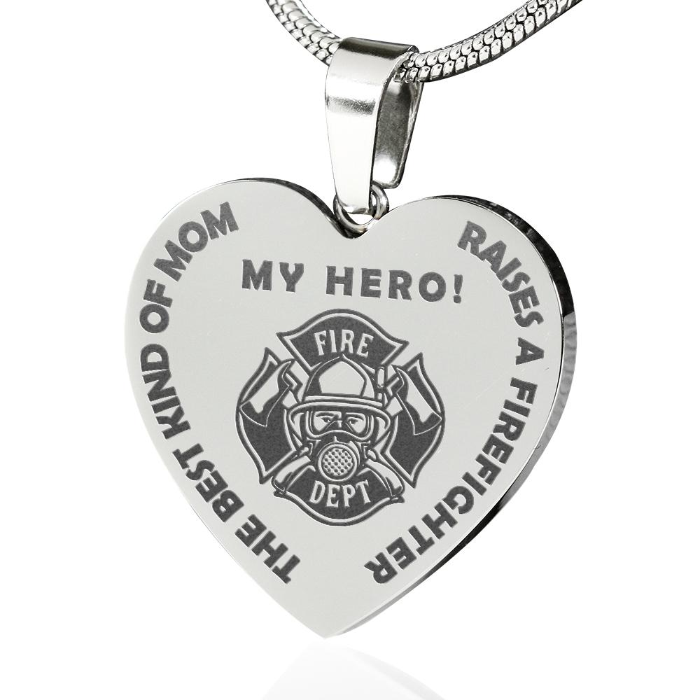The Best Mom Raises a Firefighter Engraved Necklace | Heroic Defender