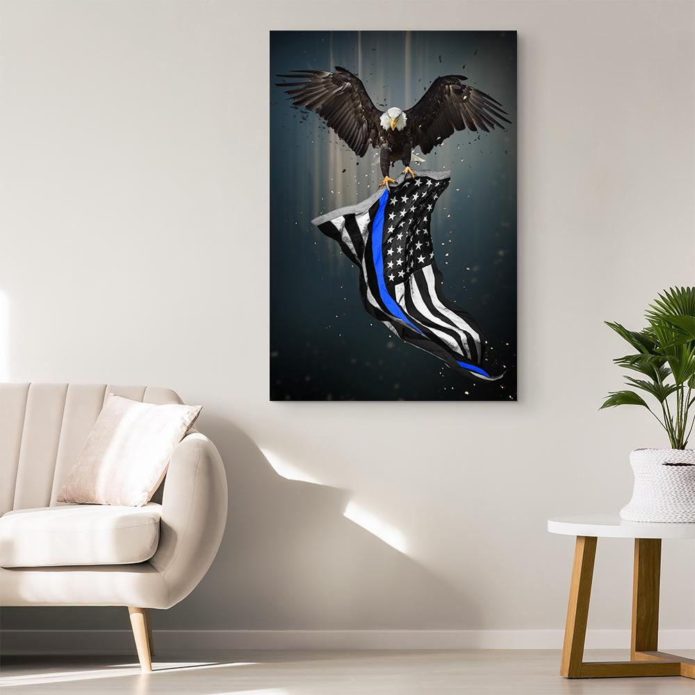 Thin Blue Line Eagle & American Flag Canvas Wall Art | Heroic Defender