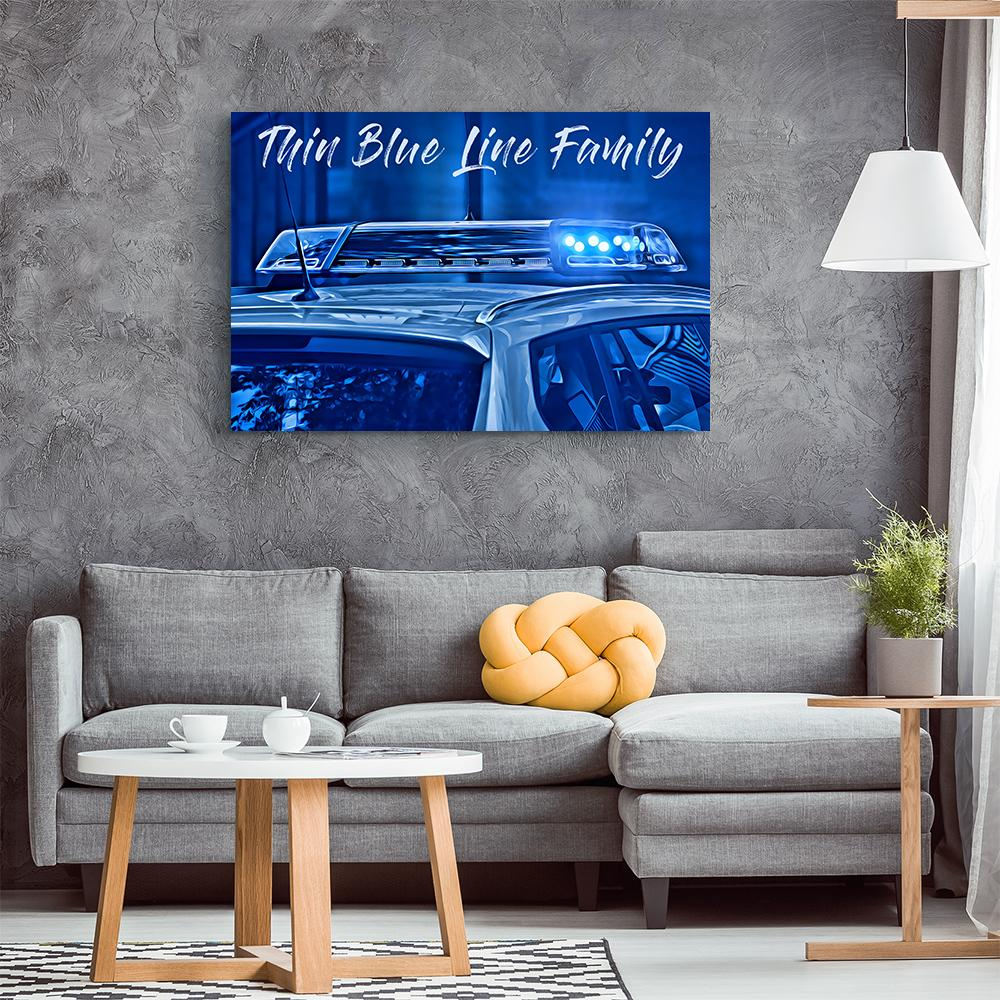 Thin Blue Line Family Canvas Wall Art - Heroic Defender