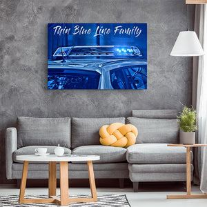 Thin Blue Line Family Canvas Wall Art | Heroic Defender
