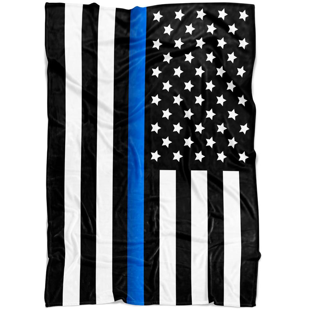 Thin Blue Line Flag Fleece Blanket | Heroic Defender