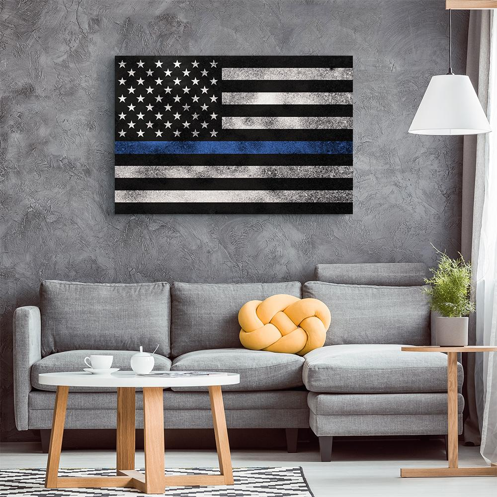 Thin Blue Line Grunge Flag Canvas Wall Art - Heroic Defender