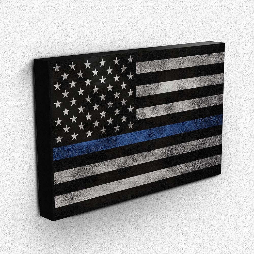 Thin Blue Line Grunge Flag Canvas Wall Art | Heroic Defender