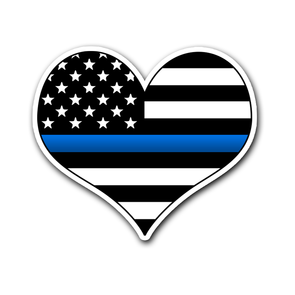 Thin Blue Line Flag Vinyl Decal Heart Sticker | Heroic Defender