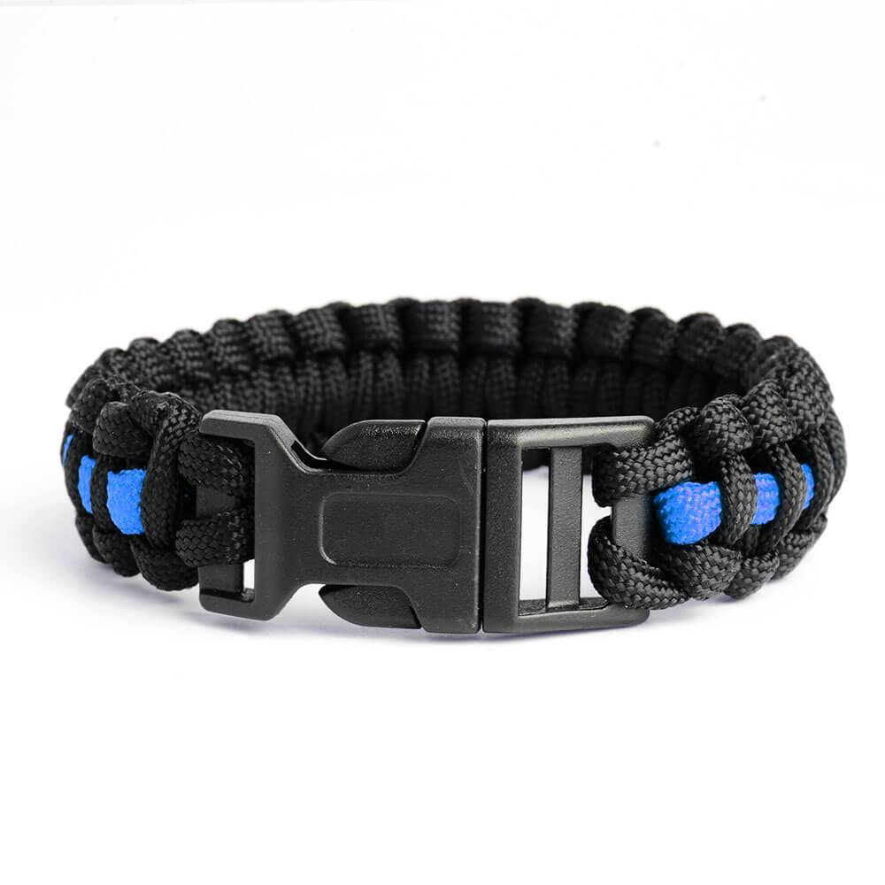Thin Blue Line Paracord Survival Bracelet | Heroic Defender