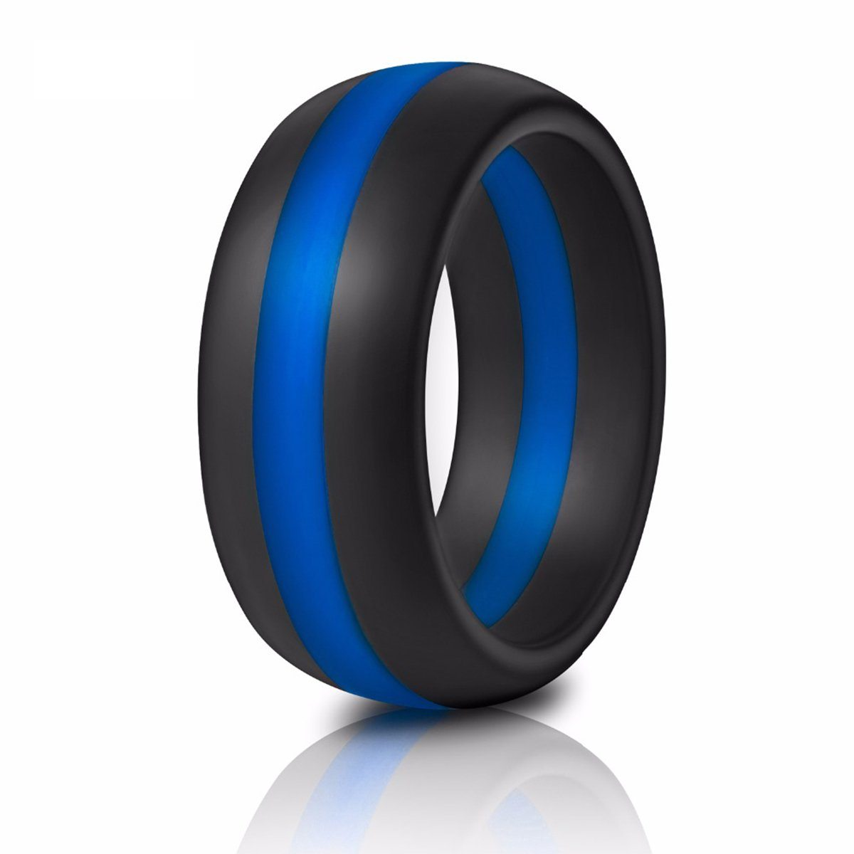 Thin Blue Line Police Silicone Ring | Heroic Defender
