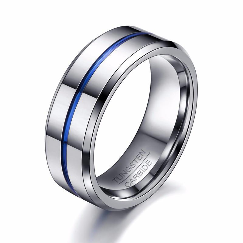 Men's Thin Blue Line Tungsten Wedding Band Ring - Heroic Defender