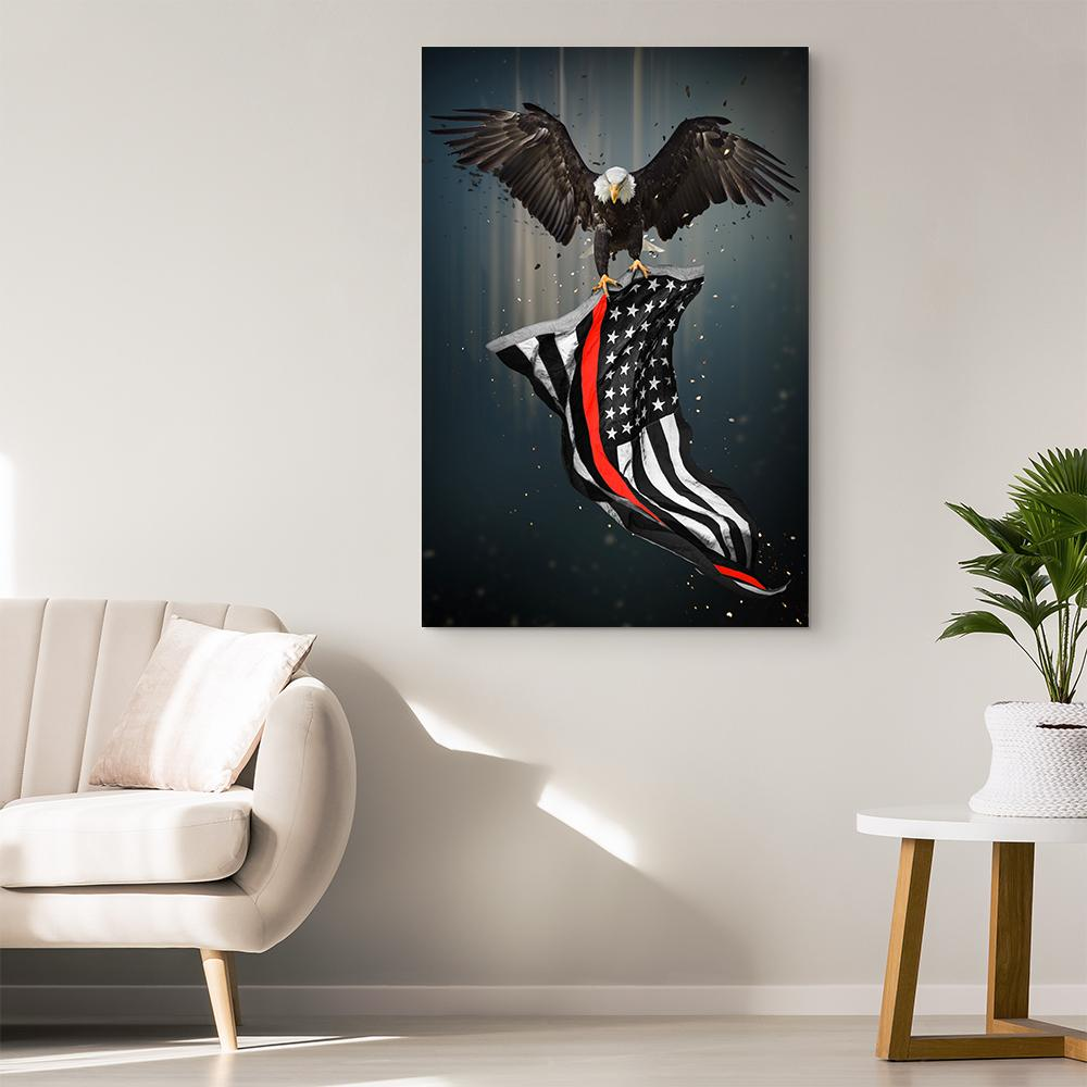 Thin Red Line Eagle & American Flag Canvas Wall Art | Heroic Defender