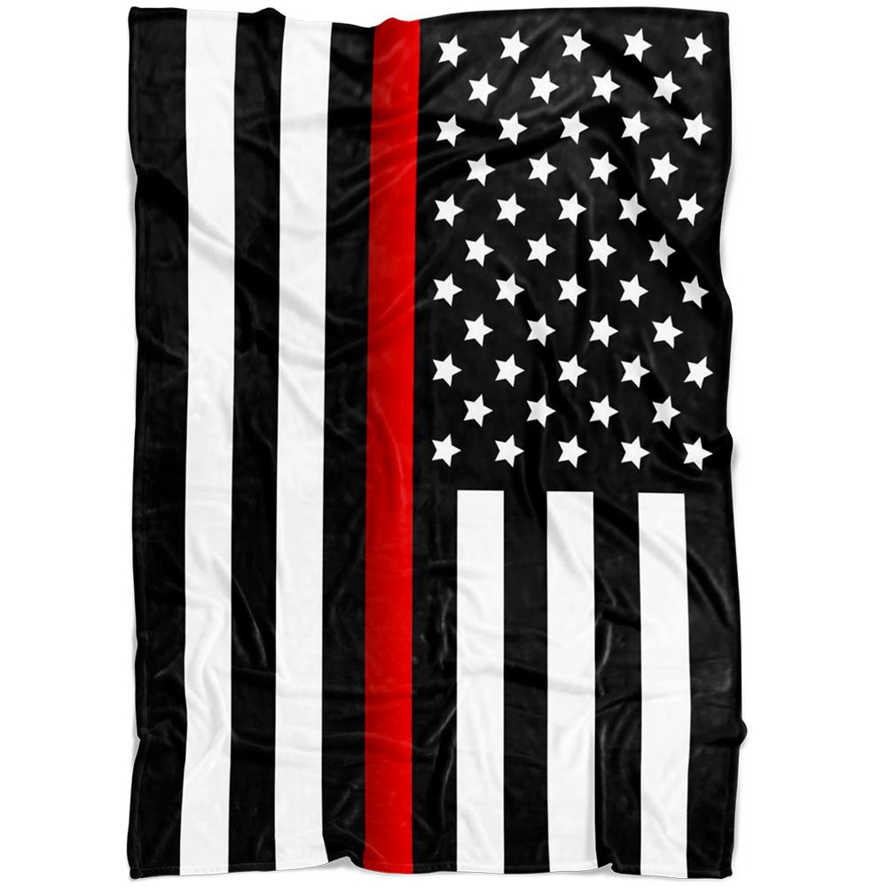 Thin Red Line Flag Fleece Blanket | Heroic Defender