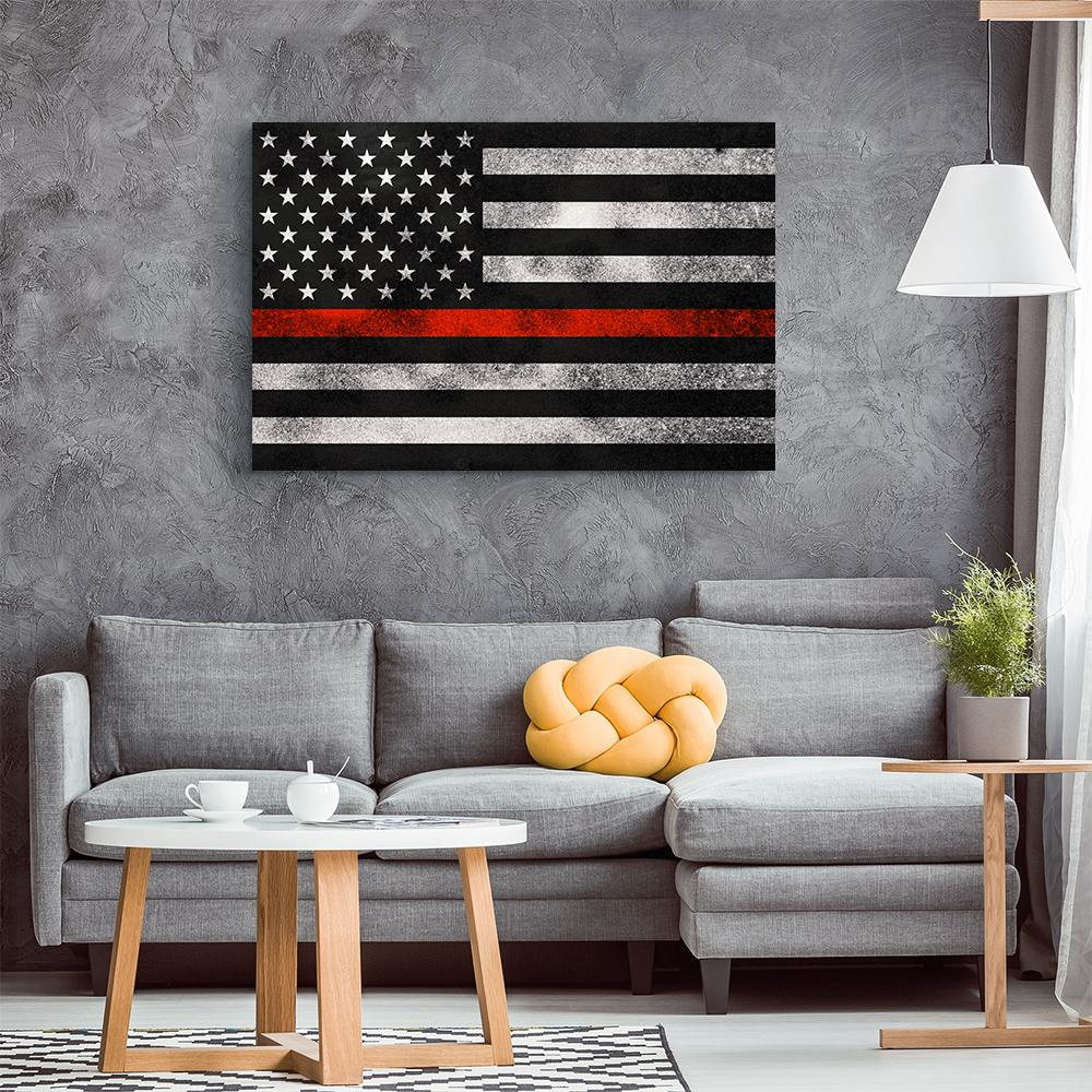 Thin Red Line Grunge Flag Canvas Wall Art Heroic Defender