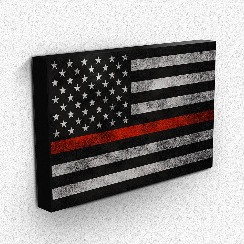 Thin Red Line Grunge Flag Canvas Wall Art | Heroic Defender