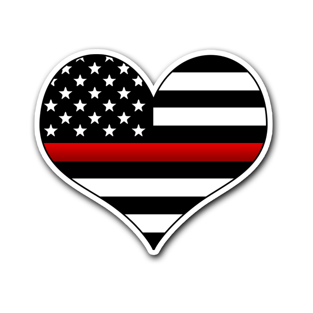 Thin Red Line Flag Vinyl Decal Heart Sticker | Heroic Defender