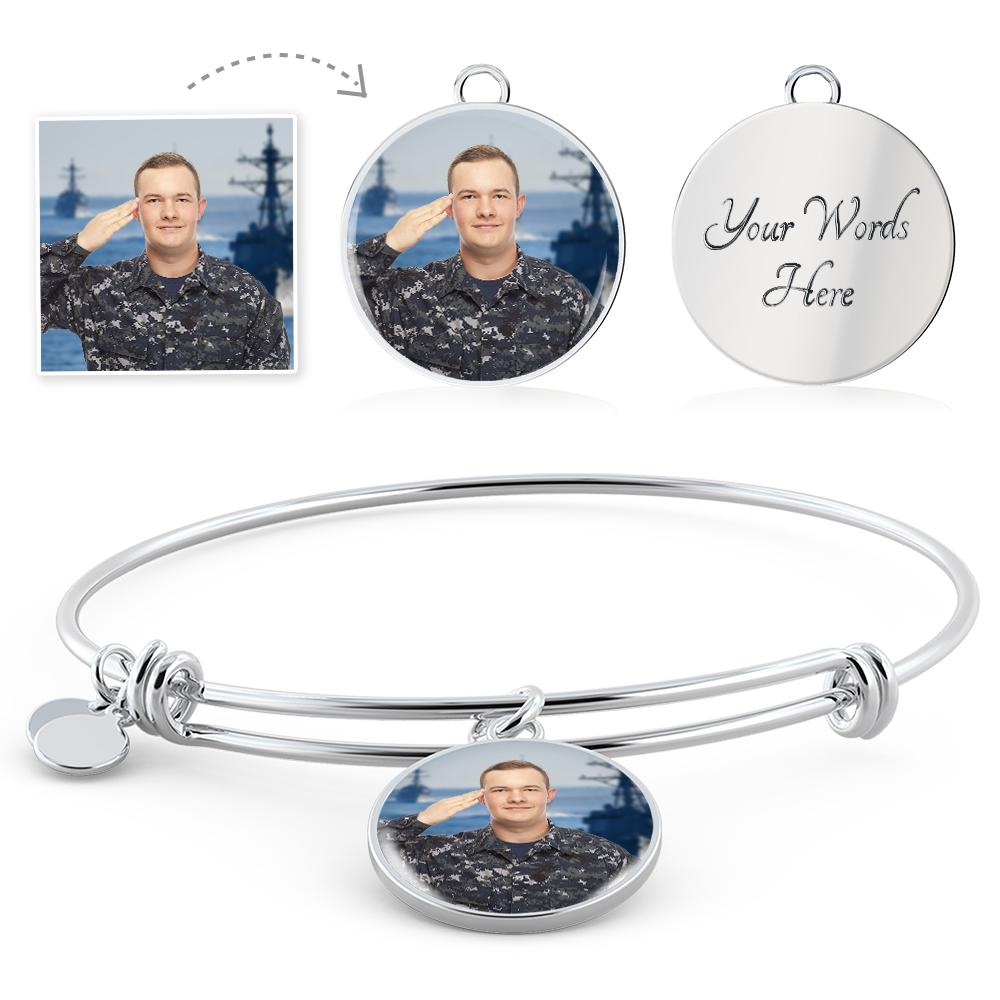 U.S. Military Personalized Photo Bangle Bracelet | Heroic Defender