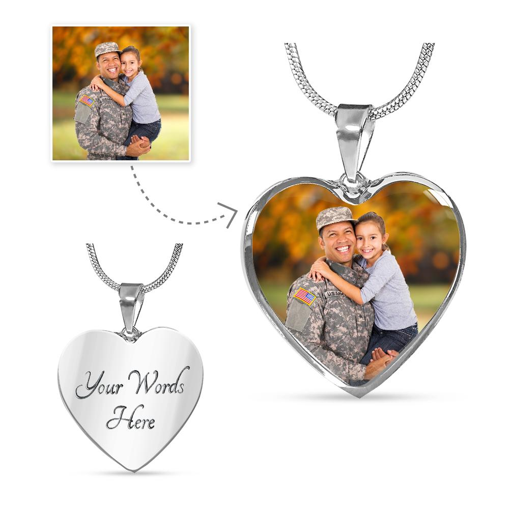U.S. Military Personalized Photo Heart Necklace | Heroic Defender