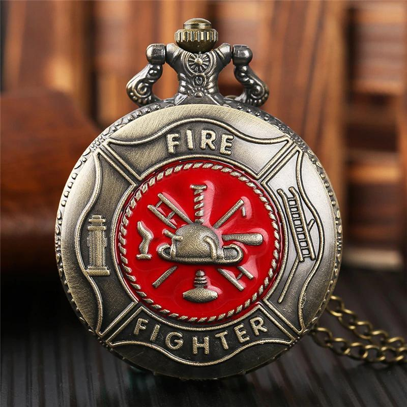 Vintage Bronze Fire Fighter Pocket Watch | Heroic Defender
