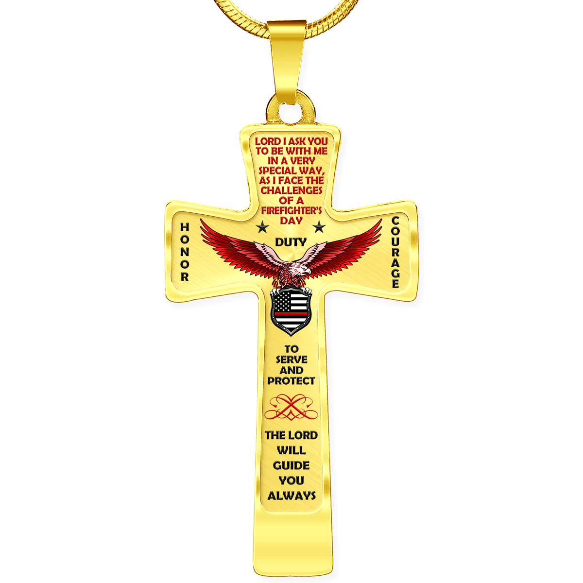 "Women's Firefighter ""Honor Duty Courage"" Cross Necklace 