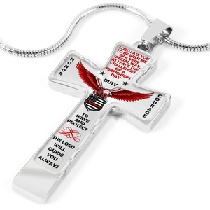 "Women's Firefighter ""Honor Duty Courage"" Cross Necklace"