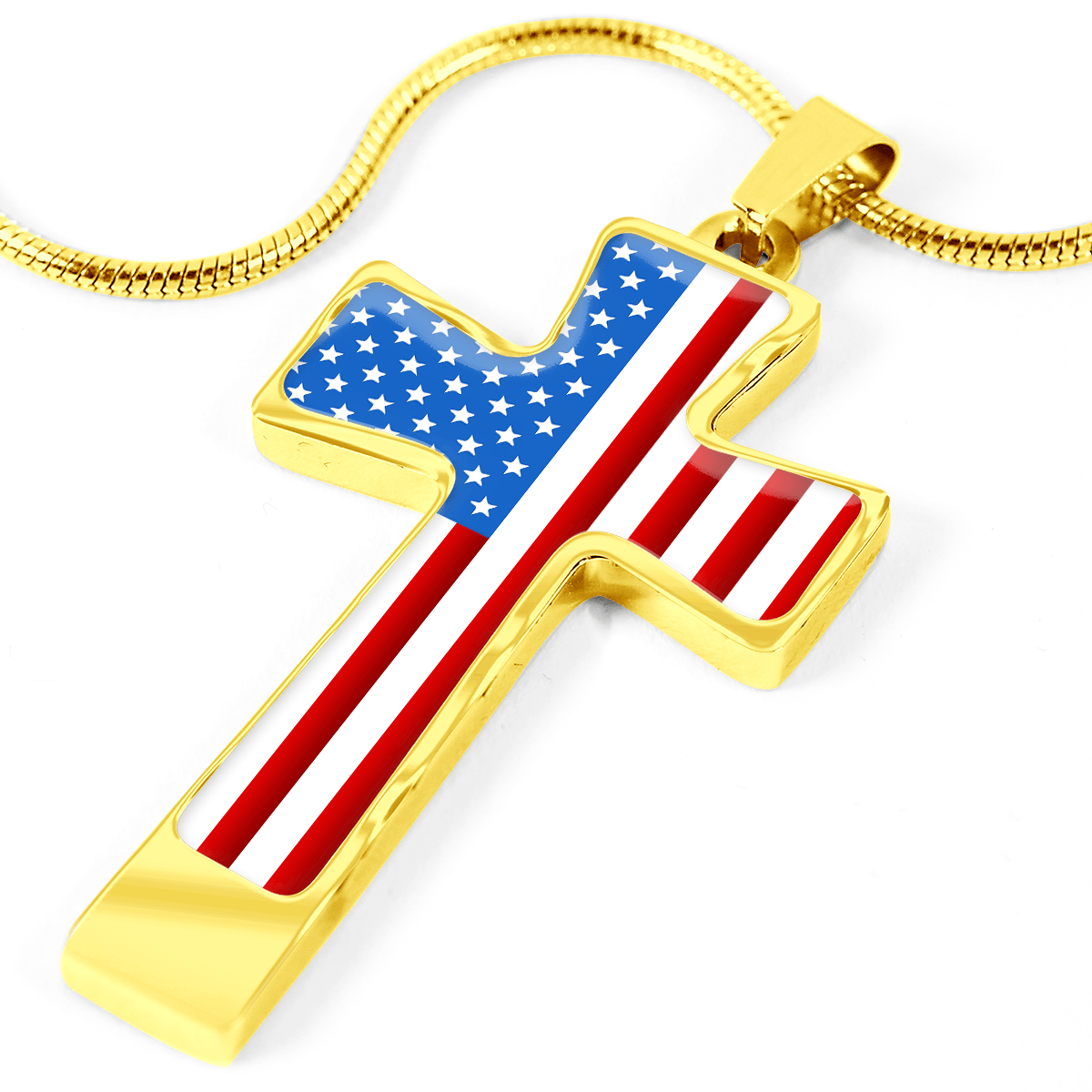 Women's Patriotic American Flag Cross Necklace | Heroic Defender