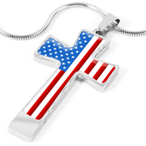 Women's Patriotic American Flag Cross Necklace