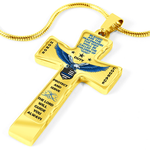 "Women's Police ""Honor Duty Courage"" Cross Necklace"