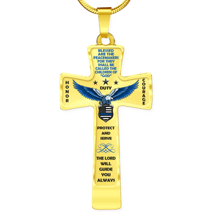"Women's Police ""Honor Duty Courage"" Cross Necklace - Heroic Defender"