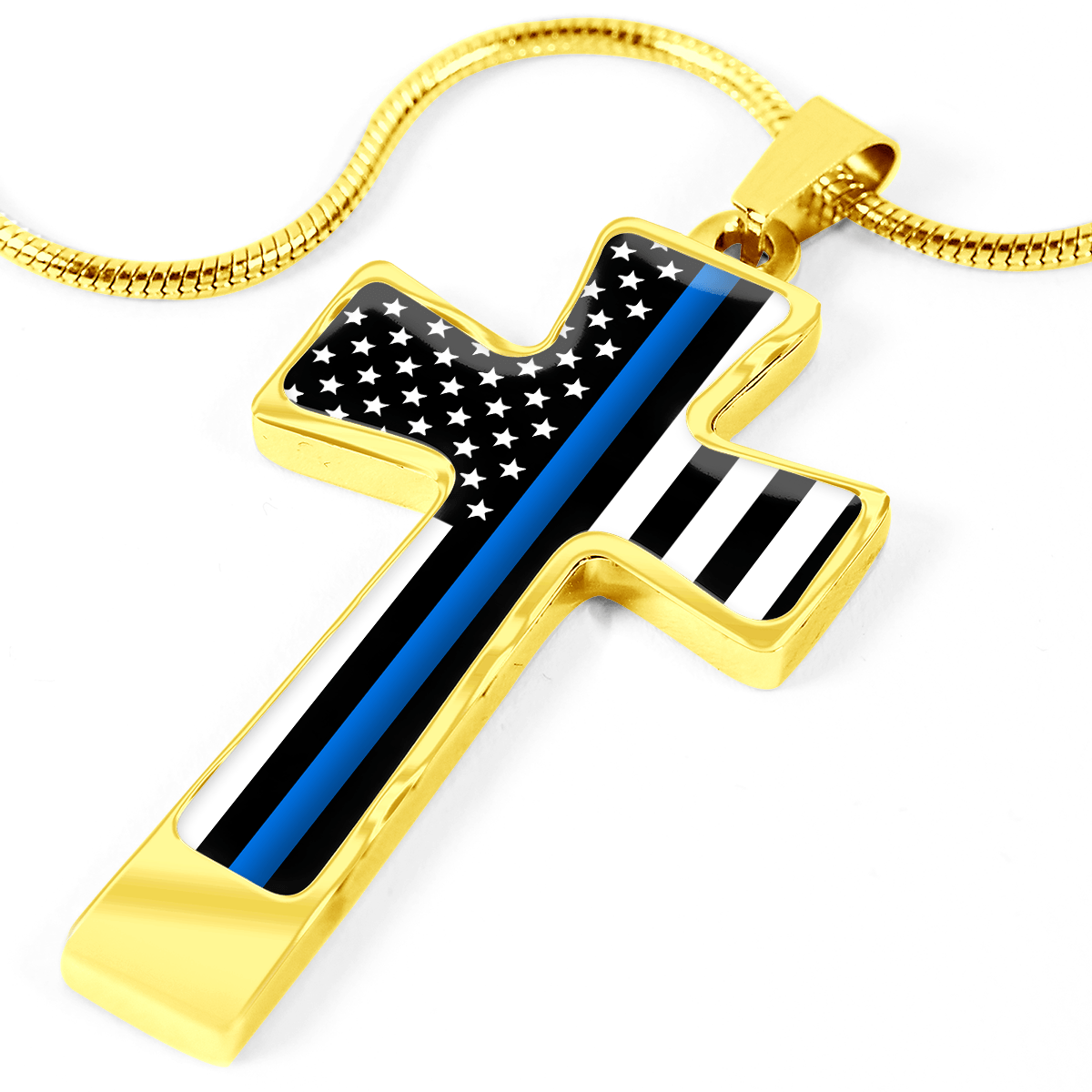 Women's Thin Blue Line Flag Cross Necklace | Heroic Defender