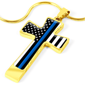 Women's Thin Blue Line Flag Cross Necklace
