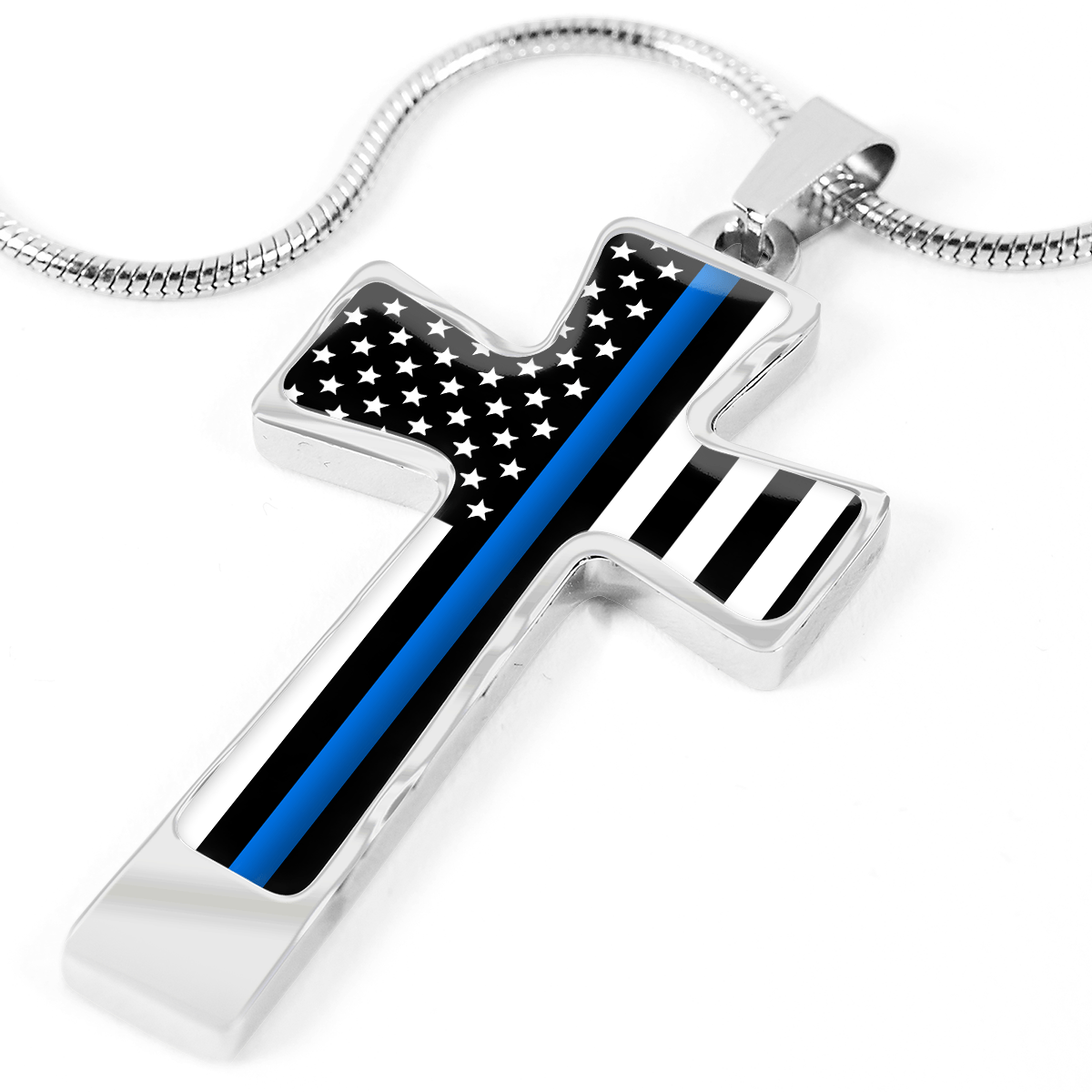 Women's Thin Blue Line Flag Cross Necklace - Heroic Defender