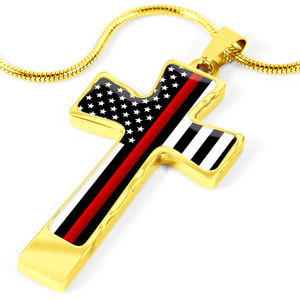 Women's Thin Red Line Flag Cross Necklace