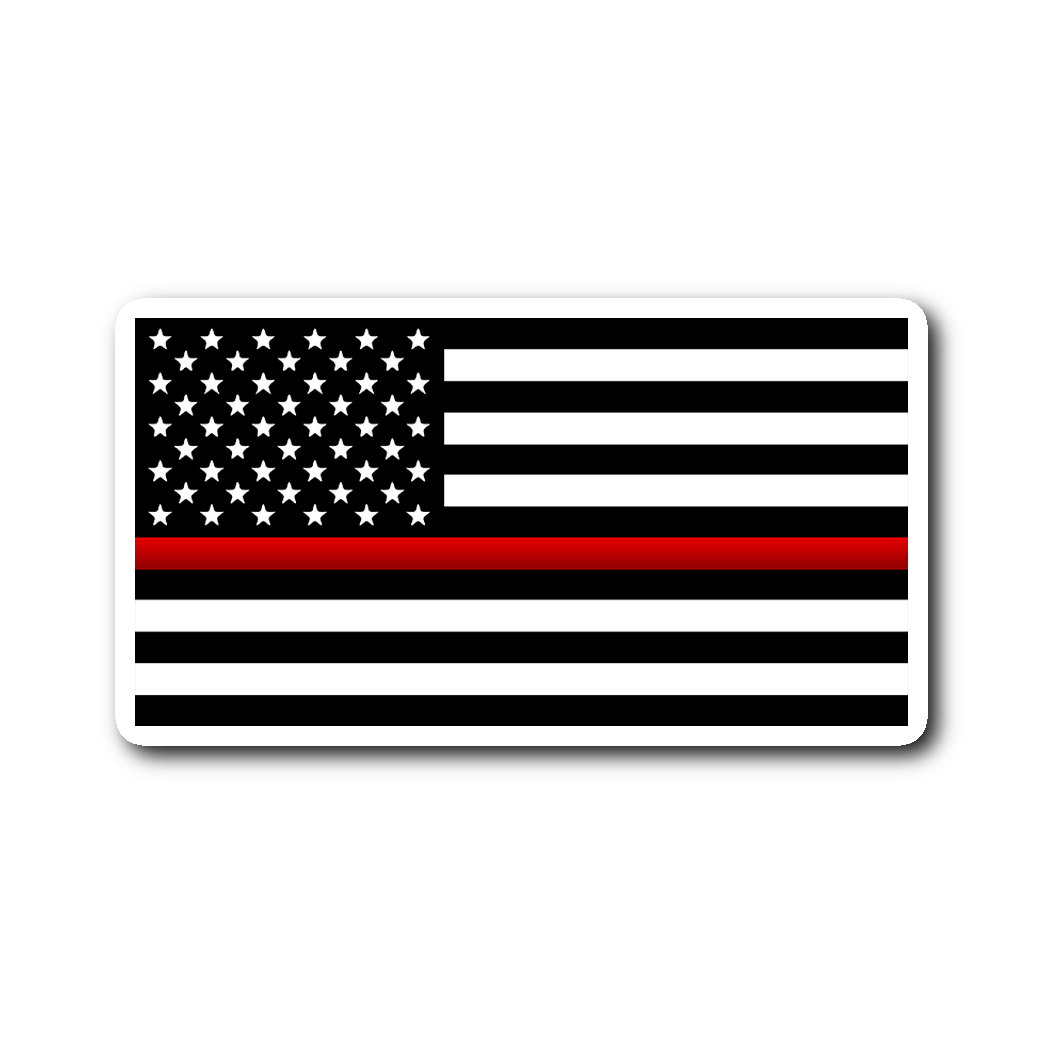Thin Red Line Flag Vinyl Decal Sticker - Heroic Defender