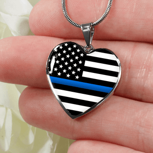 Thin Blue Line Heart Necklace - Heroic Defender