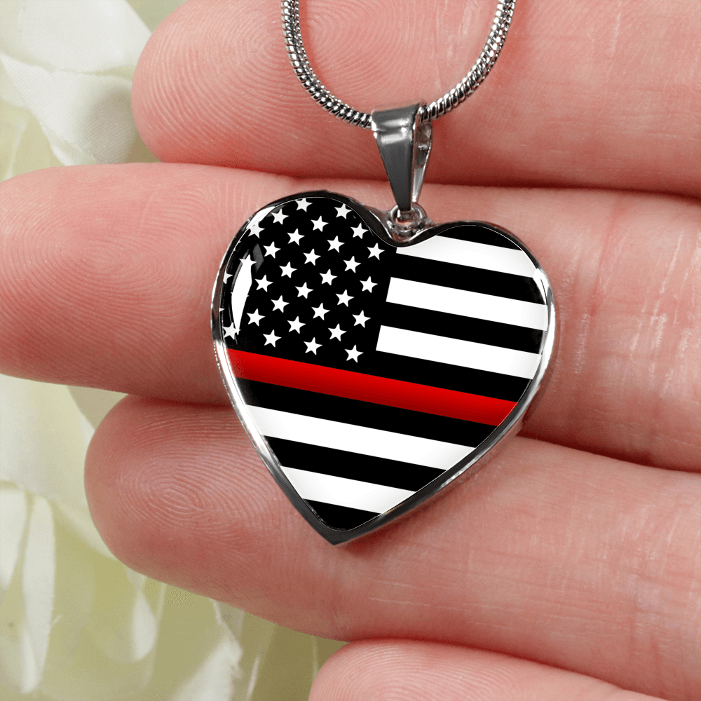Thin Red Line Heart Necklace | Heroic Defender