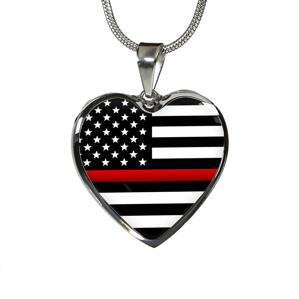Thin Red Line Heart Necklace - Heroic Defender