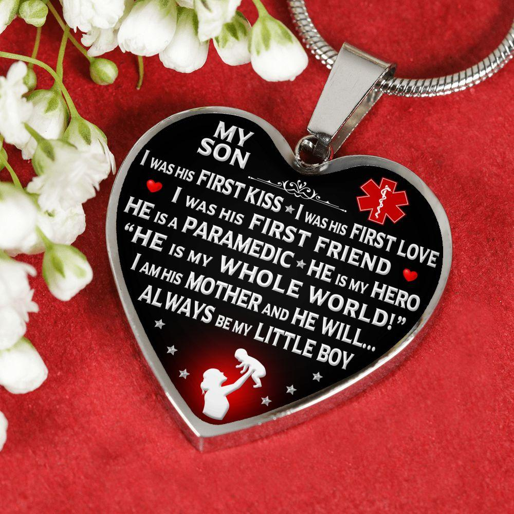"Paramedic Mom ""I Am His Mother"" Heart Necklace 